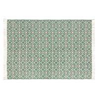 Cotton Rug with Green Graphic Motifs 140x200 Blocalia