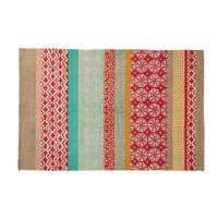 Cotton Rug with Multicoloured Patterns 120x180 Pinkplanet