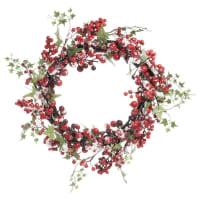 BAIES ROUGES - Couronne de Noël artificielle de baies rouges D42