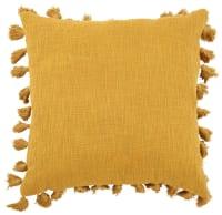 Coussin à pompons en coton jaune 50x50 Lima