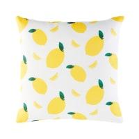 Coussin d'extérieur blanc imprimé citrons jaunes 45x45 Citrus