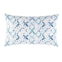 Coussin d'extérieur blanc motifs graphiques bleus 30x50 Myrto
