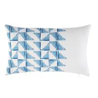 Coussin d'extérieur blanc motifs graphiques bleus 30x50 Adonis