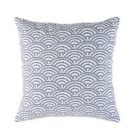 Coussin d'extérieur blanc motifs graphiques bleus 45x45 Tinos