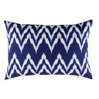 Coussin d'extérieur bleu motifs graphiques blancs 40x60 Naxos