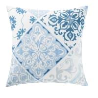 Coussin d'extérieur motifs carreaux de ciment bleus et blancs 45x45 Amadora