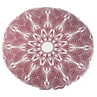 Coussin d'extérieur rond en coton rose et écru imprimé D40 Kriya