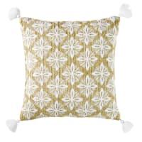 Coussin d'extérieur tressé beige motifs graphiques brodés 45x45 Veda