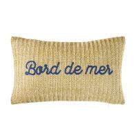 Coussin d'extérieur tressé et mots en corde bleue 30x50 Bord De Mer