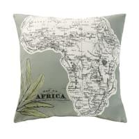 Coussin d'extérieur vert kaki imprimé carte 45x45 Africa