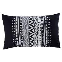 Coussin de jardin graphique en tissu noir et blanc 30x50 Ralaya