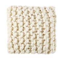 Coussin écru en coton et laine tressée 45x45 Cosy