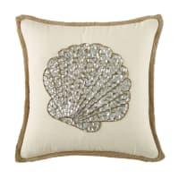 Coussin écru en jute et coton motif coquillage en perles 45x45 Poema