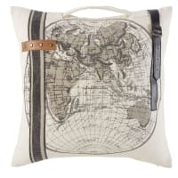 Coussin en coton beige imprimé carte du monde et cuir 45x45 World