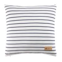 Coussin en coton blanc à rayures bleues 40x40 Marin