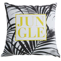 Coussin en coton blanc imprimé jaune et noir 45x45cm Jungle