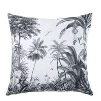 Coussin en coton blanc imprimé tropical 45x45 Sheena