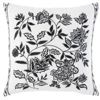 Coussin en coton blanc motif floral noir 45x45 Melisse
