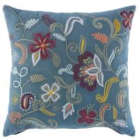 Coussin en coton bleu canard motifs brodés 45X45 Floral