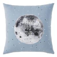 Coussin en coton bleu imprimé gris 40x40 Moon