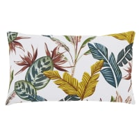 SPELLO - Coussin en coton écru imprimé feuilles multicolores 30x50