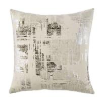 Coussin en coton écru imprimé gris anthracite et argenté 45x45 Anvers