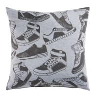 Coussin en coton gris imprimé baskets 40x40 Runners