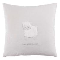 Coussin en coton gris imprimé mouton 35x35 Tresor
