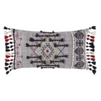 Coussin en coton gris motifs graphiques à pompons 30x50 Dakota