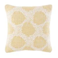 Coussin en coton tissé écru motifs à pois jaunes 45x45 Augusta