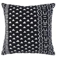 Coussin en coton tissé noir motifs graphiques blancs 45x45 Kaya