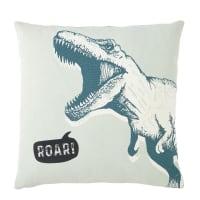 Coussin en coton vert et gris imprimé dinosaures 40x40 Roar