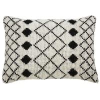 Coussin en laine et coton écru motifs noirs 40x60cm Loti