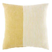 Coussin en lin jaune et blanc motifs à rayures 45x45 Paula