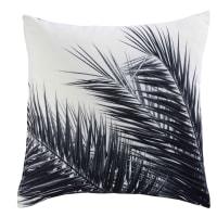 Coussin en tissu noir et blanc imprimé palmier 45x45 Aroha