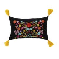 Coussin en velours noir motif floral multicolore et pompons 30x50 Lore