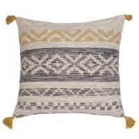 Coussin ethnique en coton gris et jaune 60x60 Kolda