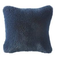 Coussin imitation fourrure bleu nuit 45x45 Maoke