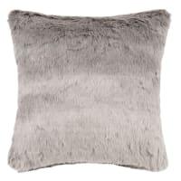 Coussin imitation fourrure grise 45x45