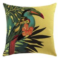 Coussin jaune imprimé tropical 45x45 Toucan