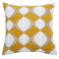 Coussin jaune moutarde motifs bicolores 45x45cm Twiggy