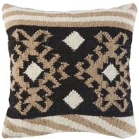 Coussin kilim écru en laine et coton motifs graphiques 45x45 Azaan