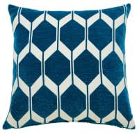 Coussin motifs bleu canard 45x45 Aston