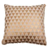 Coussin motifs triangles dorés et beiges 40x40