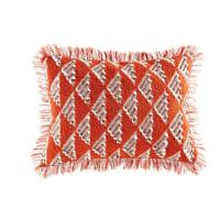 Coussin tissé en coton rouge motifs graphiques 35x50 Zaida