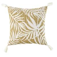 Coussin tressé et motifs feuillages blancs 45x45 Foliage