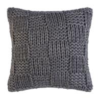 Coussin tricoté à carreaux gris 45x45 Malmo