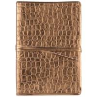 Cuaderno de notas de color bronce con efecto piel de cocodrilo