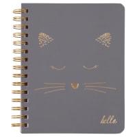 Cuaderno de notas de espiral con estampado de gato