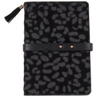 Cuaderno de notas negro con estampado de pantera
